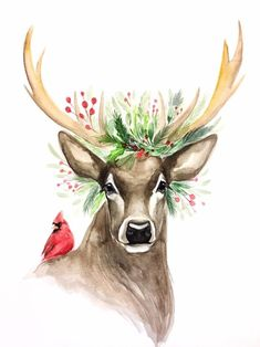 Out, Christmas deer - ?All Decked Out, Christmas deer - ?Decked Out, Christmas deer - ?All Decked Out, Christmas deer - ? Watercolor Christmas Cards, Christmas Drawing, Christmas Paintings, Watercolor Cards, Watercolor Print, Watercolor Paintings, Deer Paintings, Christmas Artwork, Xmas Drawing
