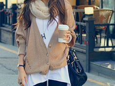 giant white tee + cropped taupe or beige slouch cardi + skinnies + black hobo + caffeine