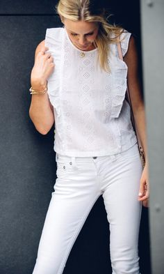 white eyelet top, ruffle top, summer style, street style, madewell top, all white outfit, white denim, summer trends, summer 2017