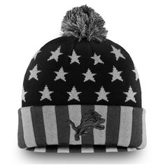d313e1cde Men s Detroit Lions NFL Pro Line by Fanatics Branded Black Gray Americana  Stars and Stripes Cuffed Knit Hat With Pom