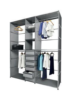 USM modular furniture wardrobe silver gray meuble USM Haller dressing gris argent                                                                                                                            More