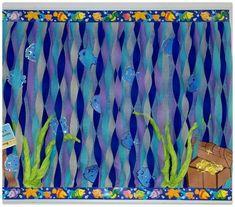 Under the Sea Party Decoration Ideas Fresh Ocean Fish Water Treasure Bulletin Board Summer Bulletin Boards, Preschool Bulletin Boards, Classroom Bulletin Boards, Classroom Door, Classroom Displays, Classroom Themes, Ocean Themed Classroom, Fish Bulletin Boards, Turtle Bulletin Board