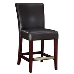 Powell Brown Bonded Leather Counter Stool, 24-Inch Seat Height