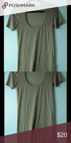 HELMUT LANG taupe tunic top size S HELMUT LANG taupe tunic top size Small, length 30 inches, bust 34 inches, very small hole on back under tag, where the tag has pulled, see photo. Color is Taupe not green, color is more correct on the last photo Helmut Lang Tops