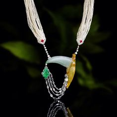 Tucano necklace #scavia #jade #diamonds #necklace #pearls #emerald #jewel #jewelry #handmade #design #awesome #style #oneofakind #luxury #italianexcellence