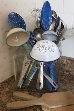 Homestead enamelware kitchen utensils