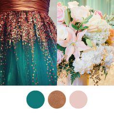 Farbkonzept Emerald Kupfer Altrosa