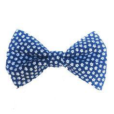 Gravata Borboleta Floral Azul