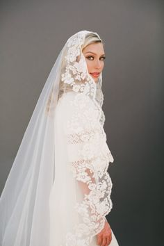 Chantilly Ivory Lace Bridal Wedding Veil, French Scalloped Lace Mantilla Veil, Cathedral Veil Gold Lace Embroidery, Bridal Accessories #1301