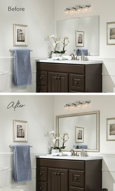 Add a MirrorMate frame to the wall mirror for an instant bathroom upgrade. #beforeandafter