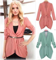 Fashion-Women-Long-Sleeve-Slim-V-Neck-Irregular-Stretch-Coat-Top-Jacket-Suit