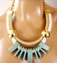 Rope Tribal Necklace Statement Necklace Ceramics in by vess65