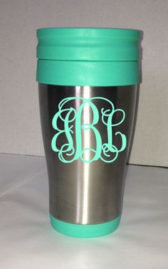 This listing is for one custom travel mug with a personalized vinyl monogram.  --Travel mug is stainless steel, with mint-colored lid and