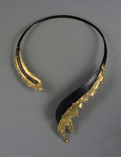 Necklace | Irena Brynner. Gold, niobium. c. 1990 via Gaby Blam Design