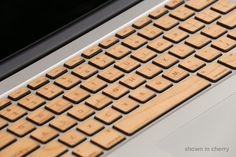 Wood MacBook Keyboard Cover: Finally! A Computer Skin For Old People!