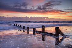 Spittal Groynes Sunrise - Sunrise Down At Spittal Point Beach Groynes Berwick upon Tweed.