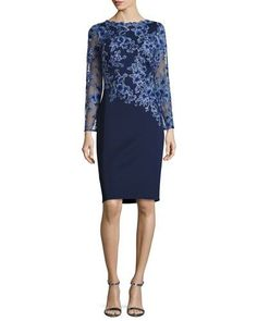 TVQKY Tadashi Shoji Long-Sleeve Embroidered Neoprene Cocktail Dress, Blue/Violet/Navy
