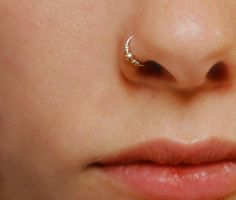 sterling silver nose ring - small embellished hoop
