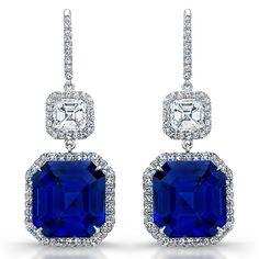 Emerald Cut Sapphire Earrings