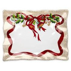 Q Squared Holiday Ruffle x Rectangle Serving Platter Kwanzaa, Hanukkah, Reindeer Decorations, Tabletop Accessories, All Holidays, Serving Platters, Poinsettia, Tablescapes, Garland