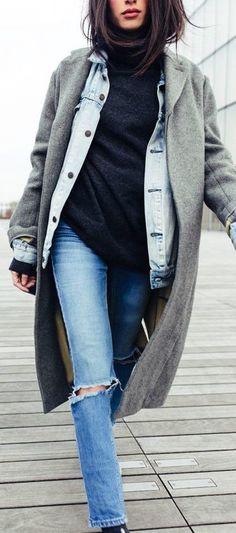 #thanksgiving #fashion · Grey Coat // Denim Jacket // Black Turtleneck Sweater // Destroyed Jeans //