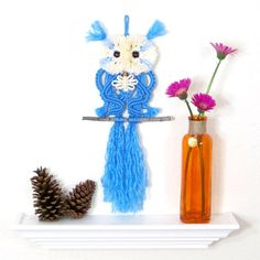 Baby Blue Macrame Owl, Unique Gift for Boys, Baby Shower, Small Owl Wall Art, Childrens Room, Nursery Décor