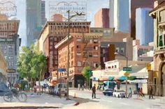 Alex Schaefer street level view of Los Angeles painted plein air at the corner of 5th and Maple. Oil on canvas 20 by 30