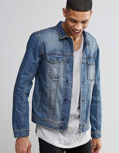 Add a vintage feel to your everyday look with this Religion Midwash Denim Jacket. From with Kout. Mens Spring Jackets, Rain Jacket, Bomber Jacket, Online Shopping Clothes, Everyday Look, Online Price, Asos, Denim, Religion