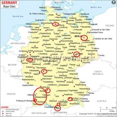 german cities germany cities map showing all the major towns and cities of germany
