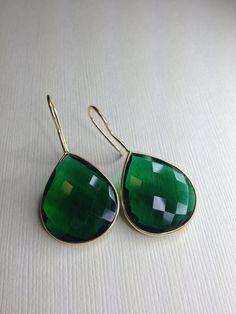 Emerald Green Hydro Bezel Set Gold Earrings by JewelryMadebyMaggie, $58.00