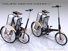 Folding Bike for Couriers by Anton Kosteckii Scooters, Velo Cargo, Bike Style, Bike Frame, Bicycle Accessories, Bicycle Design, Cycling Bikes, Road Bike Women, Product Design
