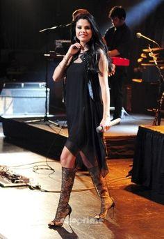 Christian Louboutin Alta Dentelle Peep Toe Boots, worn by Selena Gomez in  concert
