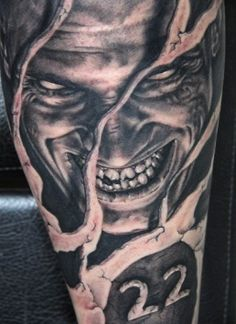 I suppose you may need tattoo designs. Do not waste time and check the full article :) Evil Tattoos, Wicked Tattoos, Creepy Tattoos, 3d Tattoos, Body Art Tattoos, Tattoo Drawings, Horror Tattoos, Tatoos, Tatto Skull