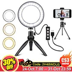 Anillo de luz Tr/ípode de tel/éfono m/óvil Tryone Tr/ípode de Soporte de transmisi/ón en Vivo con Anillo de luz LED Regulable de 6 Pulgadas para Youtube Vine Selfie o Maquillaje