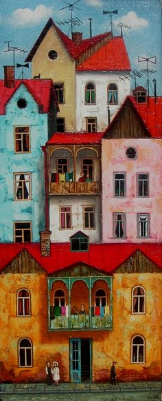 Art And Illustration, Illustrations, Pintura Exterior, Art Asiatique, Colourful Buildings, House Quilts, House Drawing, Naive Art, Whimsical Art