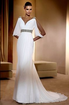 V-Neck Beads Working Empire Sheath Chiffon Satin Court Train Beach Bridal Gown In Canada Wedding Dress Greek Style Wedding Dress, Grecian Wedding, Chiffon Wedding Gowns, Wedding Dress 2013, Wedding Dress Train, Used Wedding Dresses, Wedding Dress Styles, Bridal Dresses, Prom Dresses