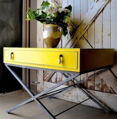 English Yellow Chalk Paint® Decorative Paint. Have seen this piece in person and it's even more striking and cool in person. Project by Debbie Hayes of Annie Sloan Unfolded