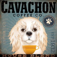 Cavachon Coffee company original illustration graphic art giclee archival signed artists print by Stephen Fowler PIck A Size