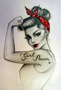 Girl power pin up tattoo.  I would put a cute half sleeve instead of the girl power part.  Love it!