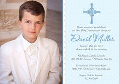 Boy First Communion Invitations, Boys First Communion Invitations, Blue First Holy Communion Invitations, Communion invitations for Boys First Communion Cards, Boys First Communion, Holy Communion Invitations, Communion Gifts, Life Hacks, Printable Invitations, All Saints, Printing Services, Tricks