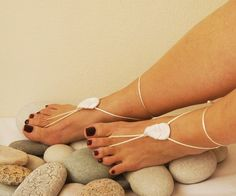 White barefoot sandals, Toe thong Bottomless shoes, Foot jewelry, Wedding Shoes, bellydance barefoot sandal
