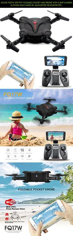 AICase FQ17W WIFI FPV Foldable Pocket Mini Drone With 0.3MP Camera Altitude Hold Mode RC Quacopter Helicopter RTF with Remote Control - Black #plans #technology #drone #gadgets #fpv #kit #products #shopping #parts #syma #racing #tech #f3 #camera #parts