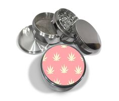 """Pink Weed Wallpaper Pattern 4 Piece Silver Alumium or Zinc Metal Grinder 2.5"""" Wide Leaf Cool by Swagstr on Etsy"""