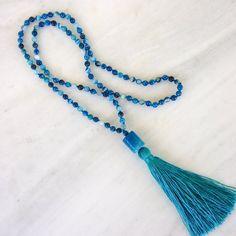 Blue agate tassel necklace
