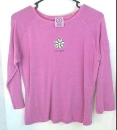 Life is Good Large Lavender Pink Long Sleeve Shirt T-Shirt  Daisy 100% Cotton #LifeIsGood #GraphicTee