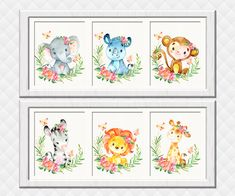 Jungle Nursery art print Safari animals wall decor girl room decoration baby shower toddler newborn gift Elephant Giraffe Zebra Lion Monkey Girls Room Wall Decor, Playroom Decor, Boy Room, Kids Artwork, Kids Room Art, Jungle Nursery, Nursery Art, Baby Girl Elephant, Or Mat