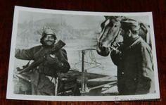 ANTIGUA FOTOGRAFIA DE LA DIVISION AZUL, VOLUNTARIOS ESPAÑOLES EN RUSIA, MOTORISTA Y ARTILLERO - PK-B (Militar - Fotografía Militar - II Guer...