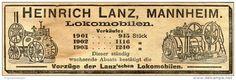 Original-Werbung/ Anzeige 1905 : LOKOMOBILEN / HEINRICH LANZ - MANNHEIM - ca. 145 x 45 mm