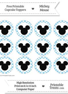 Free Baby Blue Checker Pattern Mickey Mouse Cupcake Toppers