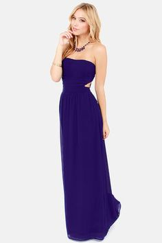 Life of Tie Dark Blue Strapless Maxi Dress at LuLus.com! Perfect example of modern elegance. #lulus #holidaywear